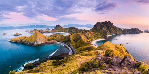 Photo on textile frame Island Top view of 'Padar Island' in a morning before sunrise, Komodo Island (Komodo National Park), Labuan Bajo, Flores, Indonesia