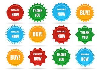 Sale star shape badges. Vector starburst promo stickers, sunburst promotion button isolated on white background
