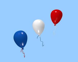 roter, weißer und blauer Luftballon. 3d rendering