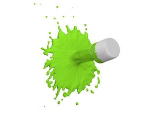 grüner Farbklecks auf weiß isoliert. 3d render