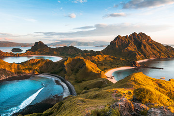 Top view of 'Padar Island' in a morning when sunrise shine through the hills, Komodo Island (Komodo National Park), Labuan Bajo, Flores, Indonesia