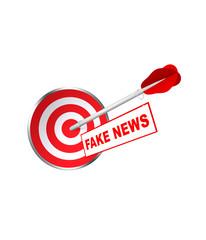 Zielscheibe mit Dartpfeil und Fake News. 3d render