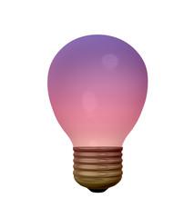 lila Glühbirne auf weiß isoliert. 3d render