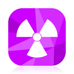 Radiation flat vector icon. Atom violet web button. Radioactive internet square sign. Nuclear modern design symbol in eps 10.