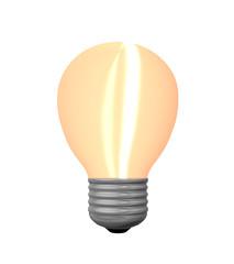Leuchtende Glühbirne auf weiß isoliert. 3d render