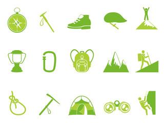 green color climbing mountain icons set