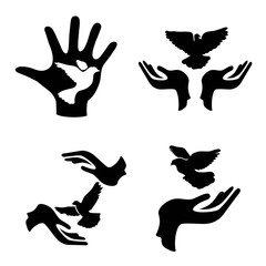 hands with pigeon icons set