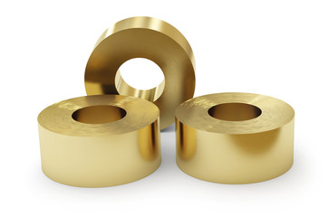 Brass sheets in rolls, rolled metal products. Isolated on white background.