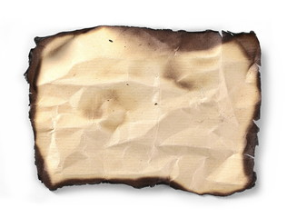 Burned old paper, cardboard isolated on white background, top view