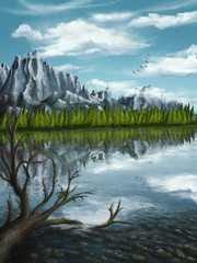 Reflections of snowy mountains with an old tree in the water, mountain scenery- Digital painting - Environment