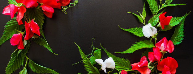 Flowers and leaves on a black background pattern of a long banner with copy space