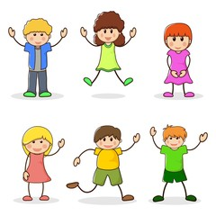 Happy girls and boys. Set of cartoon characters kids. Cute teenagers laughing. School children line style. Cute schoolchild. Vector illustration