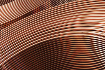 Bent copper pipes close-up. 3D Illustration