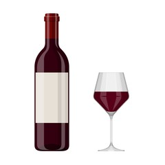 Vector illustration of a red wine bottle and glass isolated on white background. Alcoholic drink in flat cartoon style.