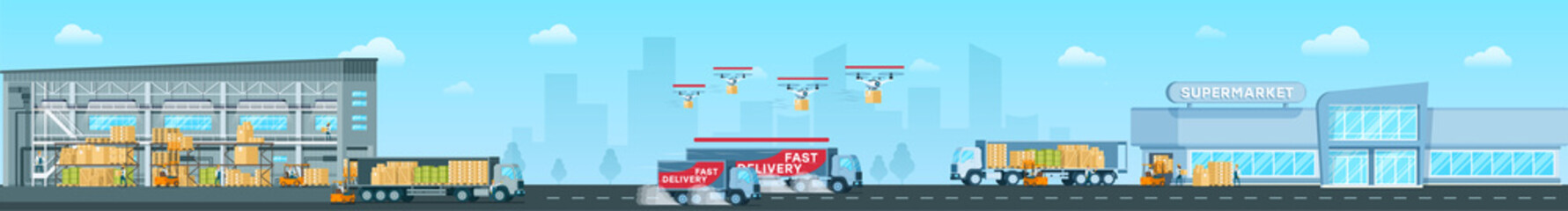 Delivering Goods From Depot to Shop Vector Concept