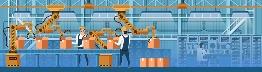 People Working with Robots on Conveyor Line Vector