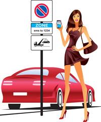 Fashion model sending sms for parking of car - vector illustration