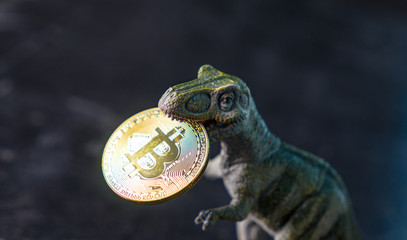 dinosaur keeps in her mouth crypto currency