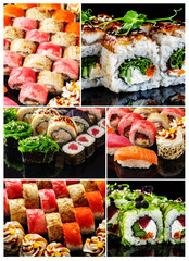 Japanese food. Collage of different sets of sushi