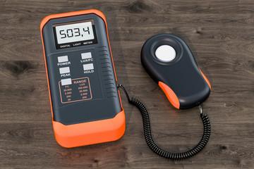 Digital luxmeter, light meter on the wooden table. 3D rendering