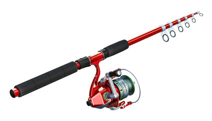 Fishing rod with spinning, 3D rendering