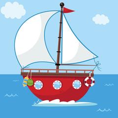 Vector illustration of a cartoon sailing boat.