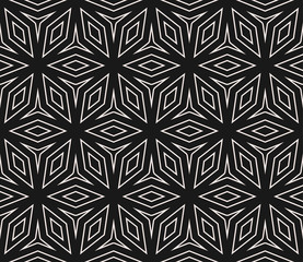 Subtle vector seamless ornament pattern, thin geometric lines, floral shapes