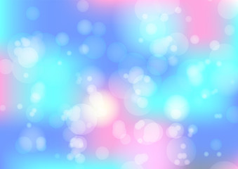 Abstract bright blue and pink bokeh background, concept of sky. Cute light colors wallpaper with blurred blobs effect for ui design, web, apps wallpaper, banner