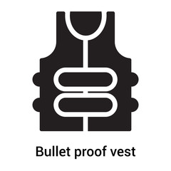 Bullet proof vest icon vector sign and symbol isolated on white background, Bullet proof vest logo concept