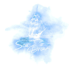 Vector hand drawn sailing ship on blue watercolour background