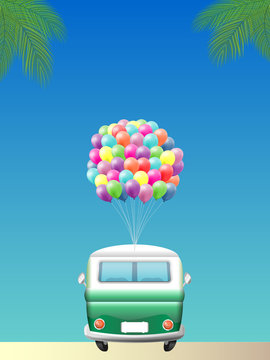 Retro camper van with colorful balloons parked on the beach - rear view