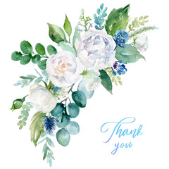 Watercolor floral illustration - bouquet with  bright white vivid flowers, green leaves, for wedding stationary, greetings, wallpapers, fashion, backgrounds, textures, DIY, wrappers, cards.