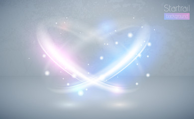 Circular lens flare blue and pink light effect with sparks. Abstract cross ellipse. Rotational glow line. Power energy. Glowing ring trace background. Vector circle frame. Magic sparkling swirl trail