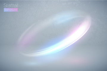 Circular flare multicolor light effect. Abstract galaxy ellipse border. Luxury shining rotational glow line. Power energy glowing ring trace. Round shiny frame. Vector blue and pink swirl trail.
