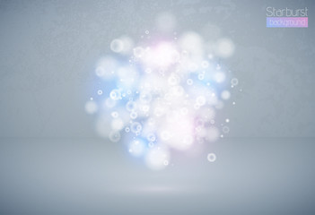 Bokeh effect multicolor light background. Blue pink Christmas concept. Vector white sparkling light explosion cloud backdrop. Shiny volume star dust light on grey stage.