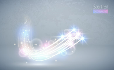 Wall Mural - Abstract vector magic white glow star light effect with neon blur curved lines. Sparkling dust star trail lens flare with bokeh. Special blue and pink christmas effect on grey stage background.