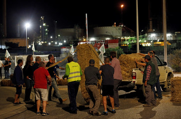 Farmers of FNSEA, France's largest farmers' union, block the Total biodiesel refinery at La Mede near Fos sur Mer