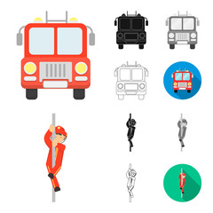 Fire Department cartoon,black,flat,monochrome,outline icons in set collection for design. Firefighters and equipment vector symbol stock web illustration.
