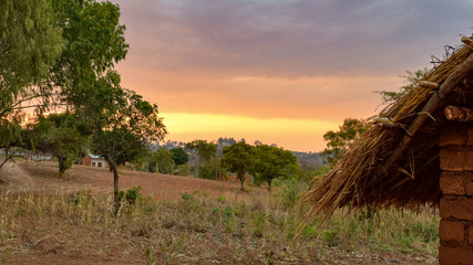 Village sunset in Malawi, Africa