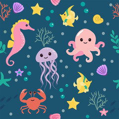 Seamless pattern with cartoon sea life animals. Underwater background. Vector illustration.