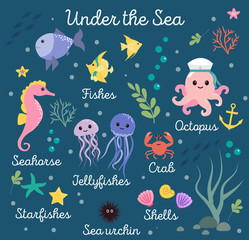 Sea life, marine animals set with underwater landscape - seahorse, star, octopus, fish, jellyfish, crab. Cute cartoon vector illustration.