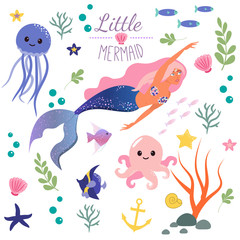 Cute set Little mermaid and underwater world. Fairytale princess mermaid and octopus, fish, jellyfish. Under water in the sea mythical marine collection.
