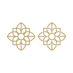 flower line art logo design template