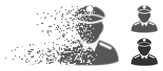 Gray vector colonel icon in dissolved, dotted halftone and undamaged entire variants. Rectangular particles are used for disintegration effect. Points are combined into dissolving colonel icon.