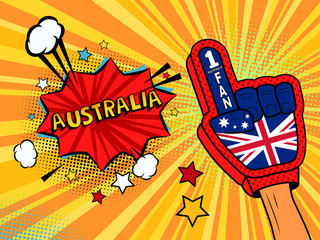 Male hand in the country flag glove of a sports fan raised up celebrating win and Belgium speech bubble with stars and clouds. Vector colorful illustration in retro comic style