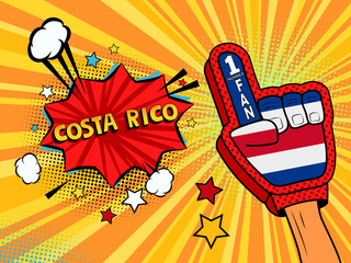 Male hand in the country flag glove of a sports fan raised up celebrating win and Costa rico speech bubble with stars and clouds. Vector colorful illustration in retro comic style