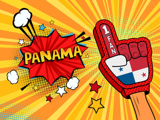 Male hand in the country flag glove of a sports fan raised up celebrating win and Panama speech bubble with stars and clouds. Vector colorful illustration in retro comic style