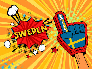 Male hand in the country flag glove of a sports fan raised up celebrating win and Sweden speech bubble with stars and clouds. Vector colorful illustration in retro comic style
