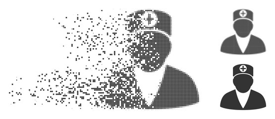 Grey vector medic person icon in fractured, pixelated halftone and undamaged solid versions. Square dots are used for disappearing effect. Pieces are organized into dissipated medic person shape.
