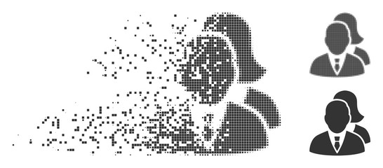 Gray vector people icon in dissolved, dotted halftone and undamaged whole versions. Square particles are used for disintegration effect. Points are organized into dispersed people symbol.